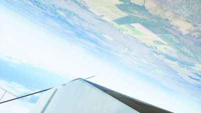 Wing of plane during a barrel roll