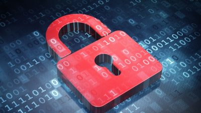 Binary code overlaid on red lock