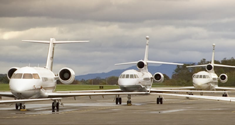 Several planes waiting in line to takeoff