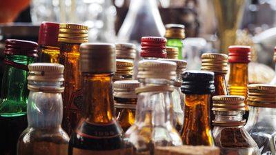 Close-up of several liquor bottles