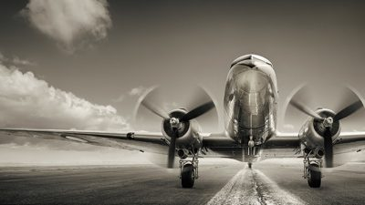 Twin propeller airplane ready to takeoff