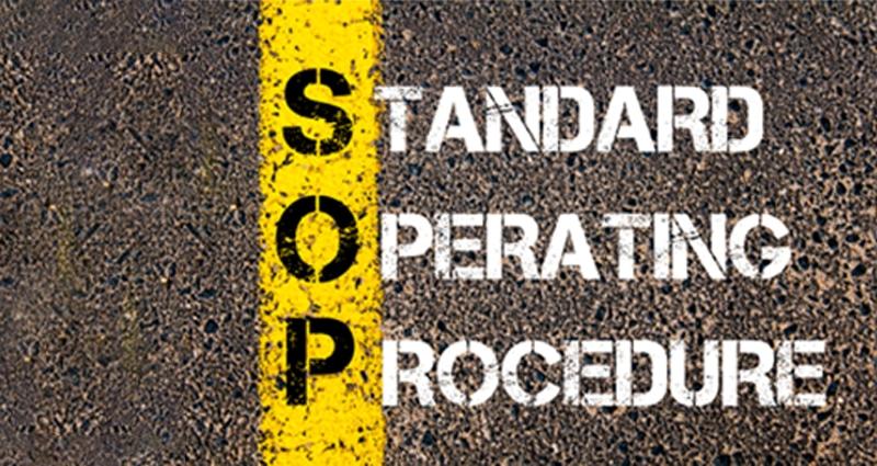 Standard operating procedure spray painted on road